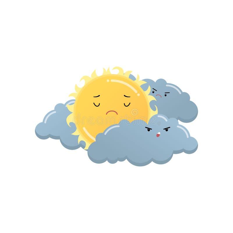 Droevige gele zon tussen de boze grijze sticker van wolkenemoji die op wit wordt geïsoleerd stock illustratie