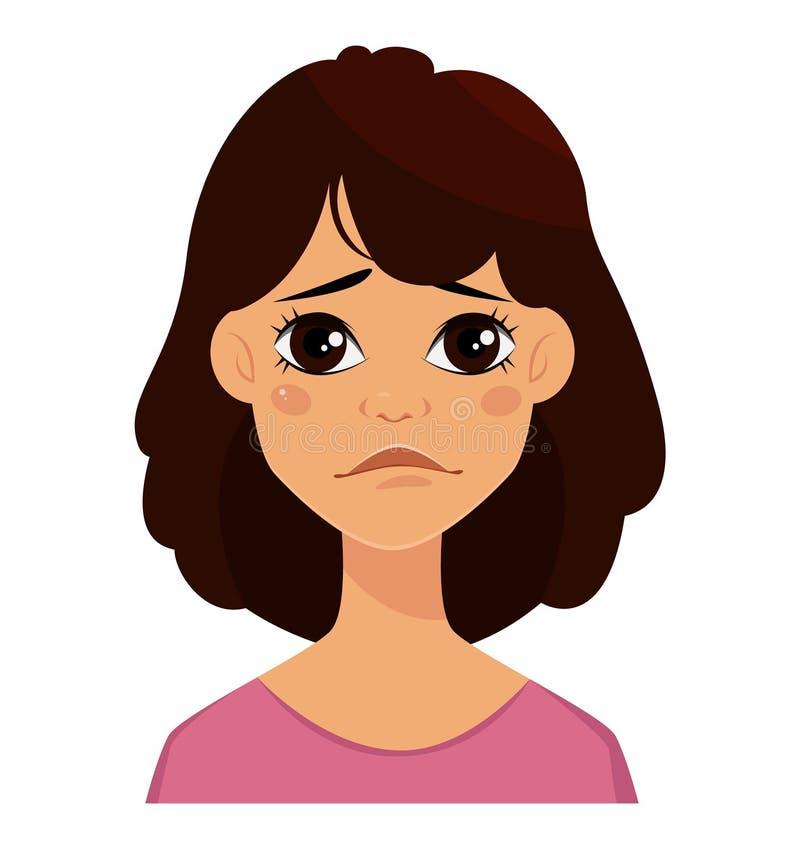 Droevige gezichtsuitdrukking van een leuke vrouw, stock illustratie