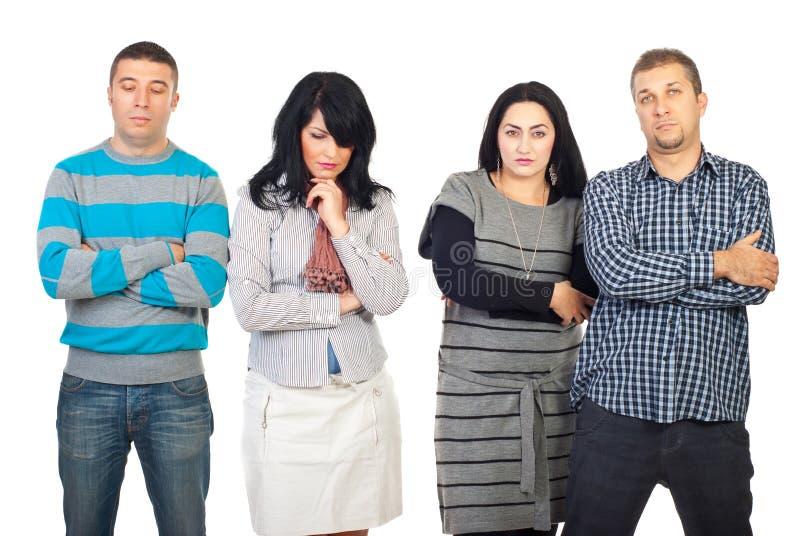 Droevige groep mensen met problemen stock afbeelding