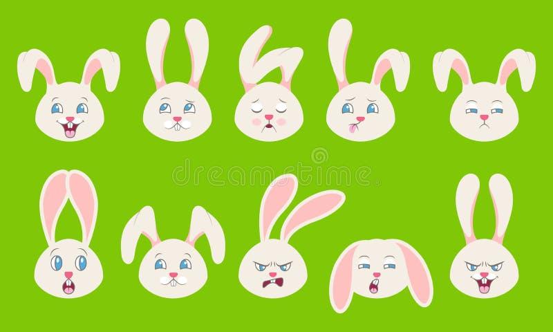 Droevige hoofden van Konijn met Verschillende Vrolijke Emoties -, Grappige Oplettendheid, Slaperigheid, Moeheid, Boosaardigheid vector illustratie