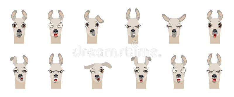 Droevige hoofden van Lama met Verschillende Emoties die -, Woede, Agressie, Slaperigheid, Moeheid, Boosaardigheid, Verrassing, Vr stock illustratie