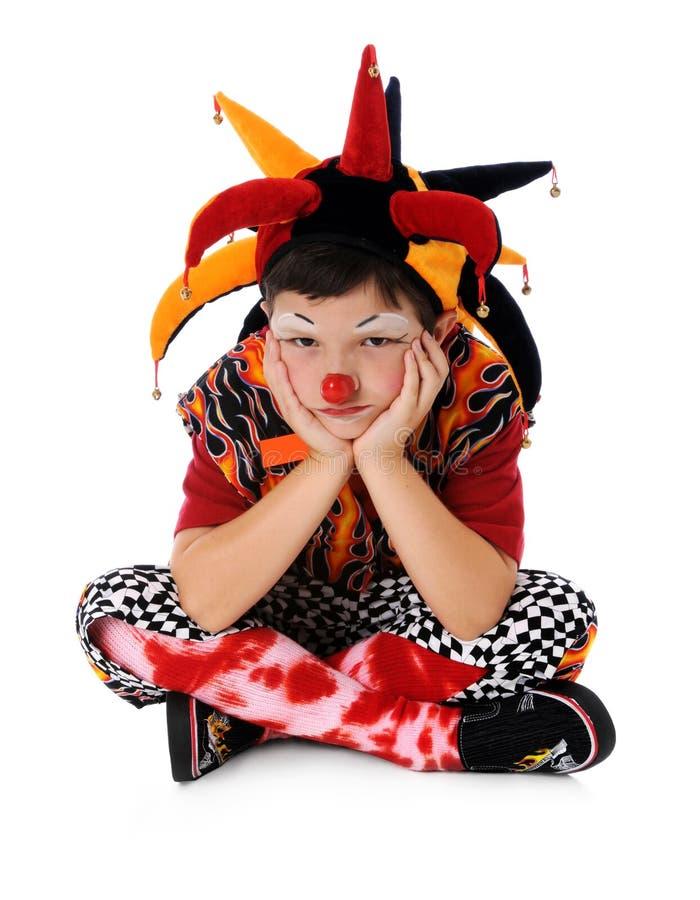 Droevige Jonge Clown stock afbeeldingen