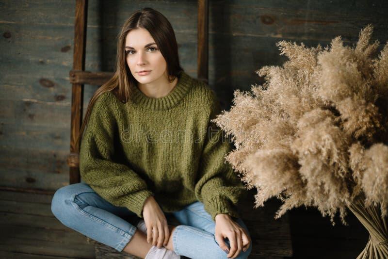 Droevige jonge donkere haired vrouw in een warme gebreide donkergroene sweater, jeans die in studio met daglicht stellen stock afbeelding