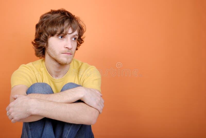 Droevige jonge mens royalty-vrije stock foto