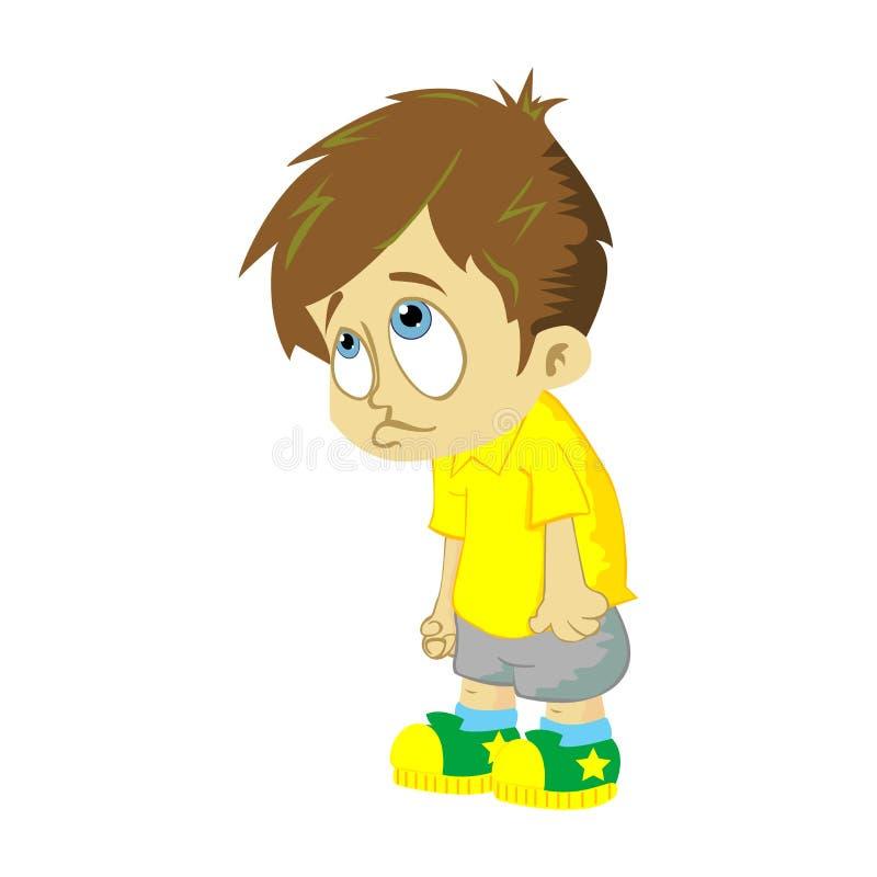 Droevige jongen op witte achtergrond stock illustratie