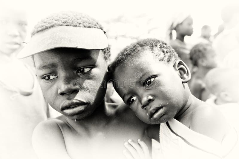 Droevige kinderen van Ghana royalty-vrije stock afbeeldingen