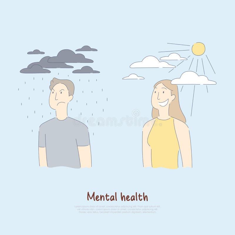 Droevige man onder regenende wolken en gelukkige vrouw, psychologie, medische hulp, gezondheidszorg, geestestoestandbanner vector illustratie
