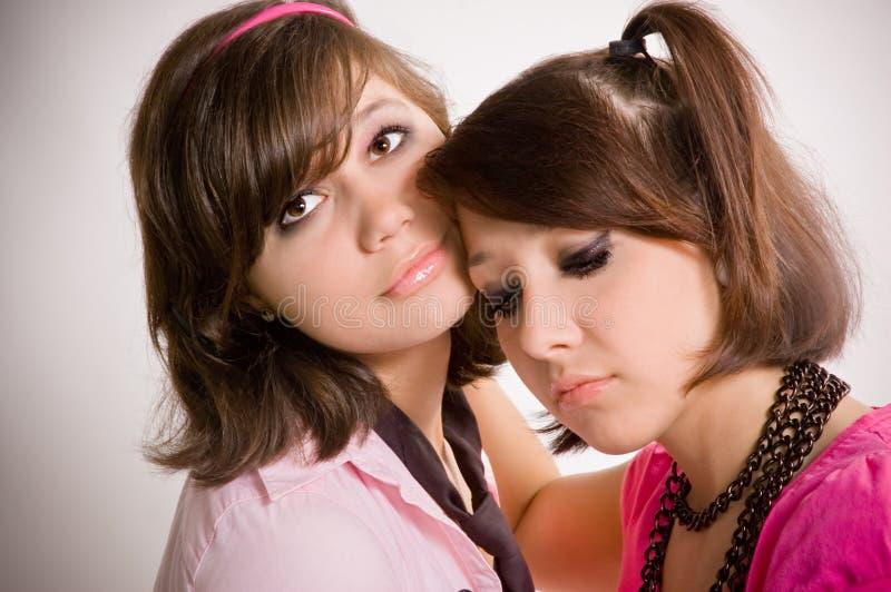 Droevige meisjestieners stock afbeeldingen