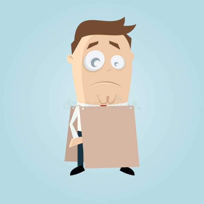 Droevige mens met leeg teken stock illustratie