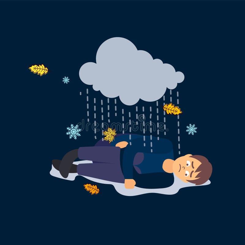 Droevige mens Slecht weer depressie stock illustratie
