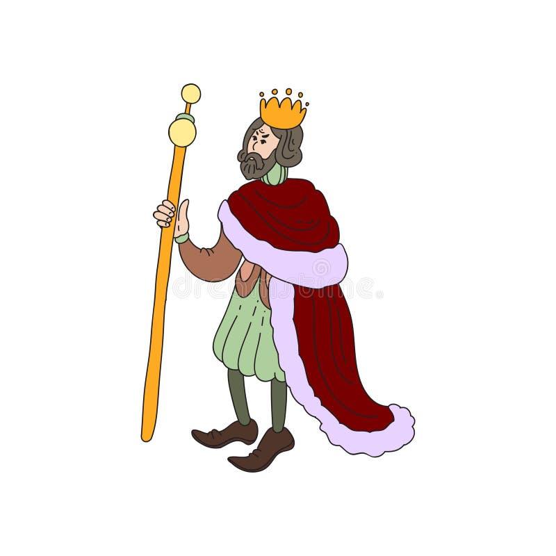 Droevige middeleeuwse koning met gouden kroon en rode kleren vector illustratie