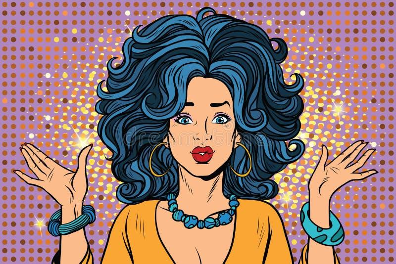 Droevige mooie het gebaarhanden van het discomeisje vector illustratie