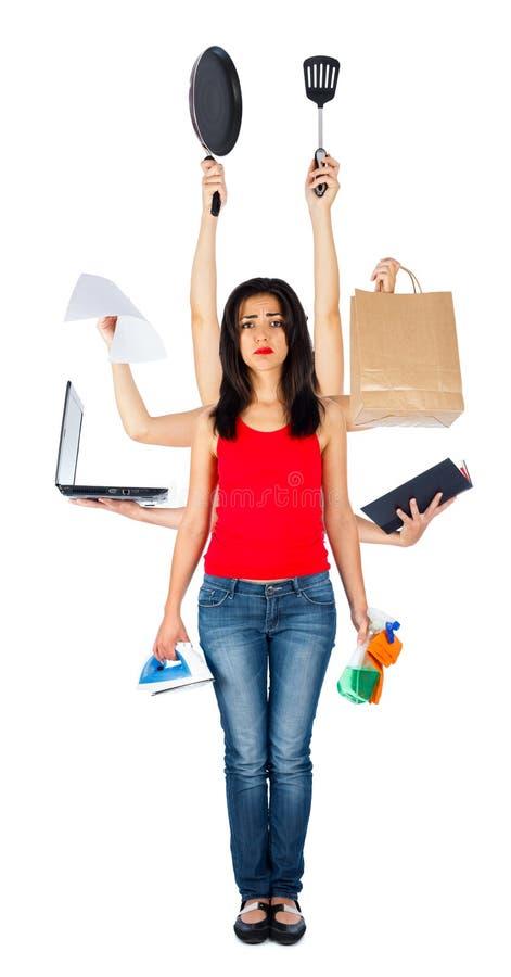 Droevige Multitasking Vrouw stock foto's