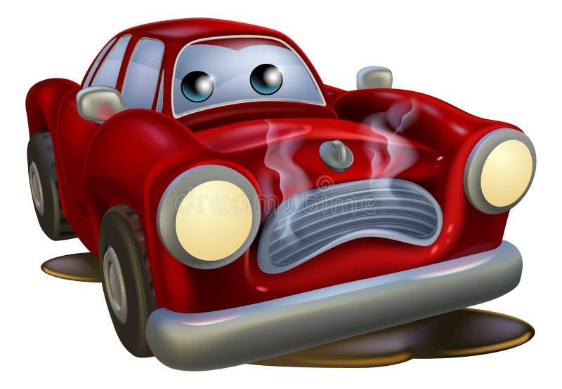 Droevige opgesplitste beeldverhaalauto vector illustratie