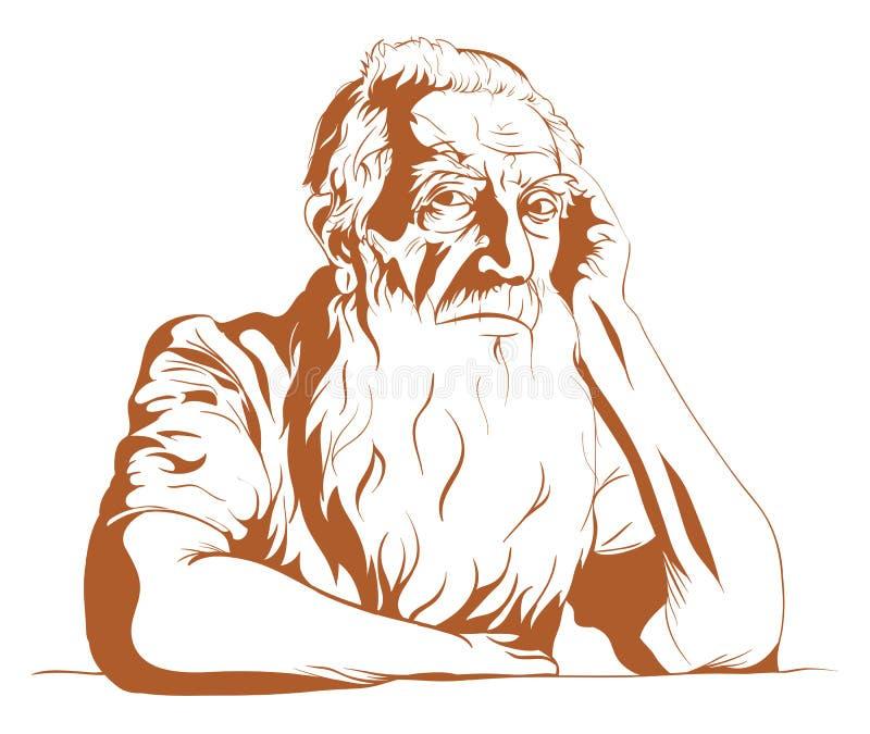 Droevige oude mens vector illustratie