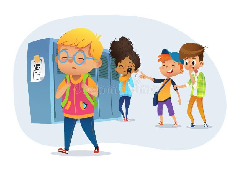 Droevige owerweightjongen die glazen het gaan througs skhool dragen Schooljongens en kieuw die en op zwaarlijvige jongen lachen r vector illustratie
