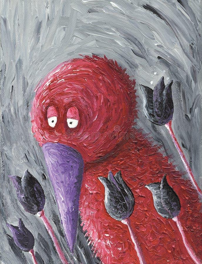 Droevige rode vogel met purpere bek en tulpen royalty-vrije illustratie