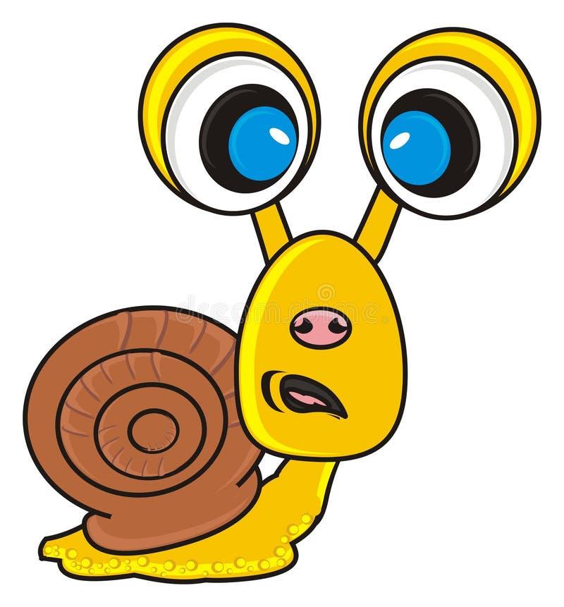 Droevige slak met grote ogen stock illustratie