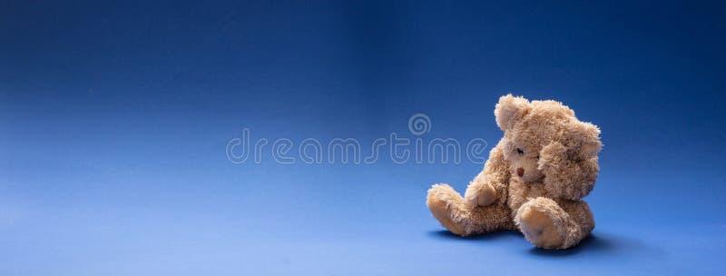 Droevige teddybeer, houdend zijn hoofd, die op blauwe lege ruimteachtergrond zitten, banner stock foto
