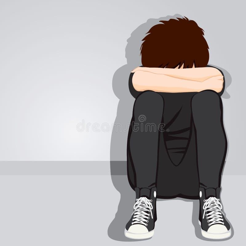 Droevige Wanhopige Tienerjongen vector illustratie