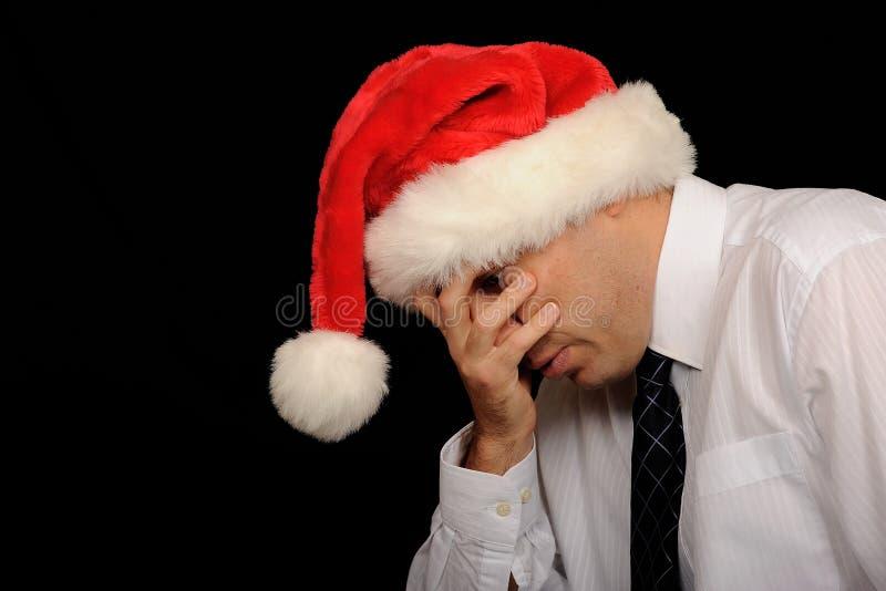 Droevige zakenman bij Kerstmis stock fotografie