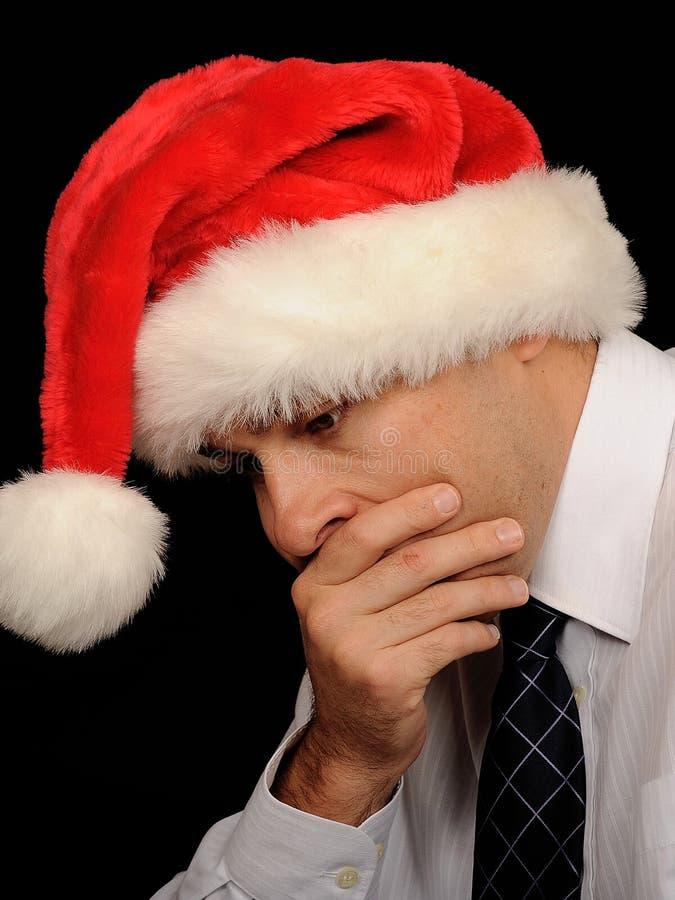 Droevige Zakenman in Kerstmis stock afbeeldingen