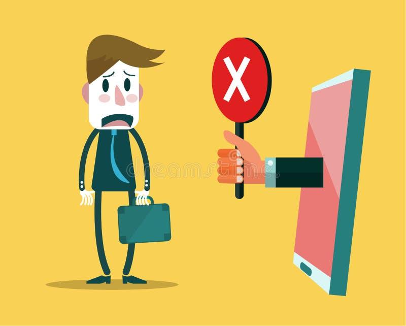 Droevige zakenman met slim apparaat die rood kruisteken tonen vector illustratie