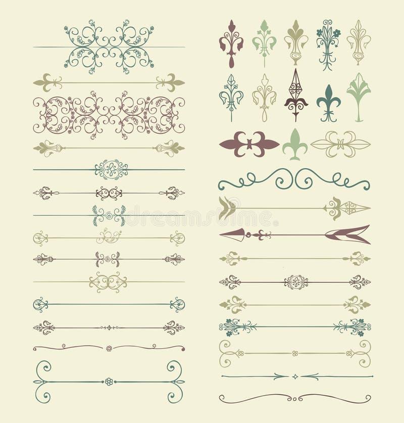 Drog avdelare runt för vektorn virvlar den färgrika handen, pilar, stock illustrationer