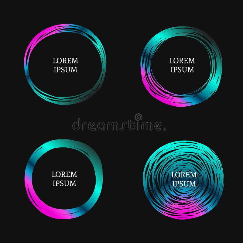 Drog cirklar för vektor hand stock illustrationer