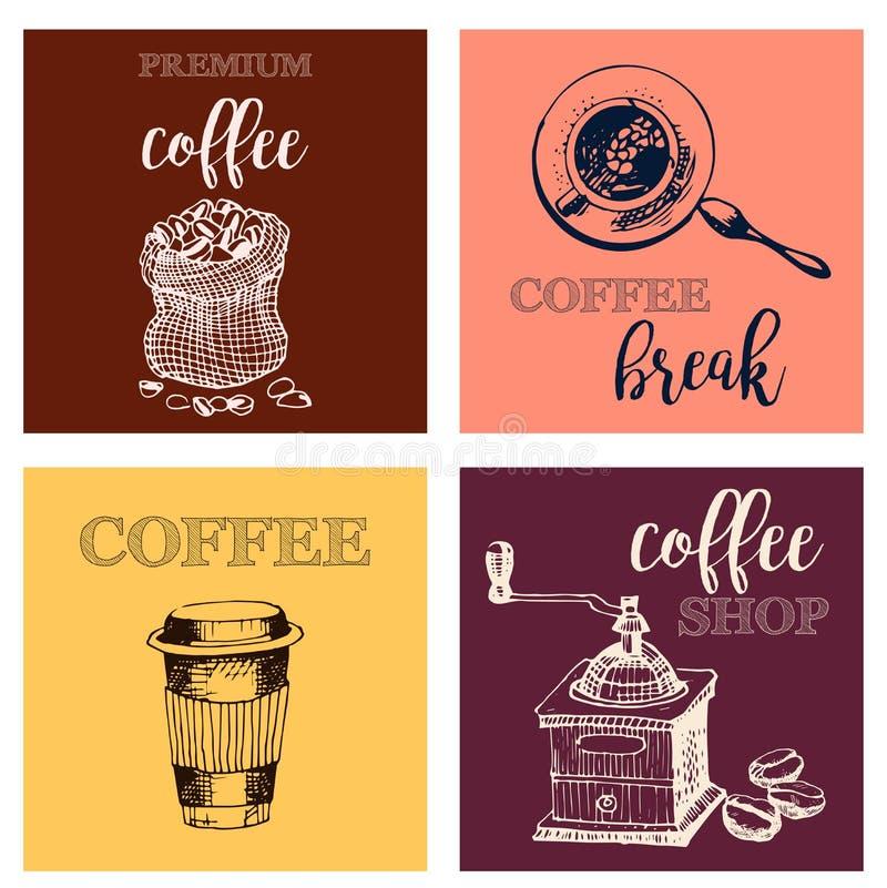 Drog designbeståndsdelar för tappning hand för coffee shop, marknad, kafé Tryckbar typografi för kortet, affisch, baner, T-tröja vektor illustrationer