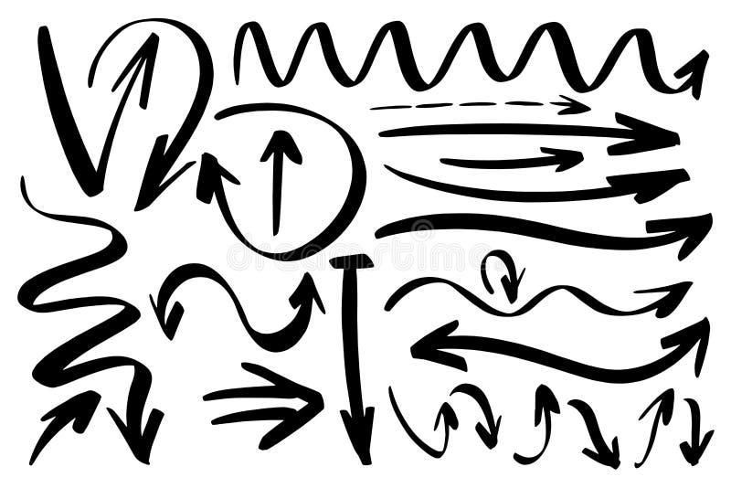 Drog designbeståndsdelar för vektor hand Former för utdragna pilar för färgpulverborste olika Monokrom samling stock illustrationer