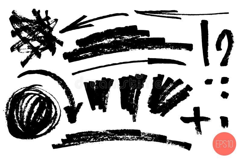 Drog designbest?ndsdelar f?r vektor hand Ställ in av konstnärliga beståndsdelar liksom pilar, klottra, ifrågasätta fläcken, utrop vektor illustrationer