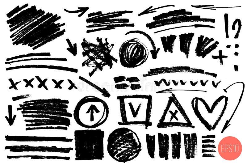 Drog designbest?ndsdelar f?r vektor hand Ställ in av konstnärliga beståndsdelar liksom pilar, klottra, ifrågasätta fläcken, utrop royaltyfri illustrationer