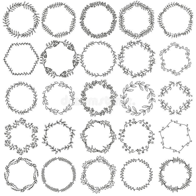 Drog grafiska blom- kransar för samling hand royaltyfri illustrationer