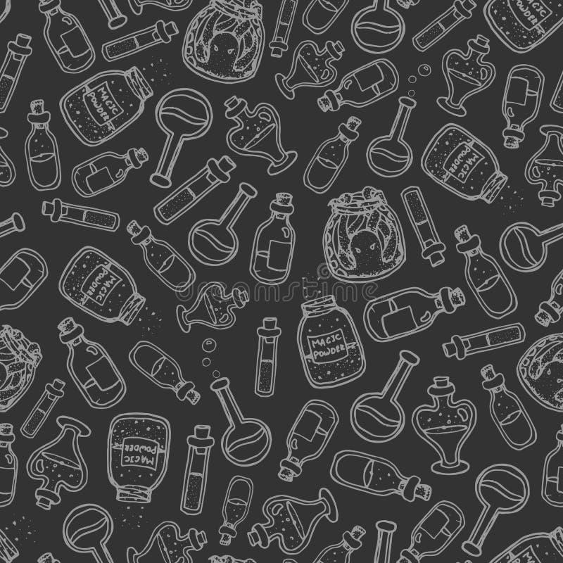 Drog häxan för vektorn buteljerar handen den sömlösa modellen på mörkret - grå bakgrund royaltyfri illustrationer