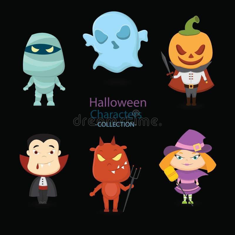 Drog halloween för uppsättning sex hand tecken stock illustrationer