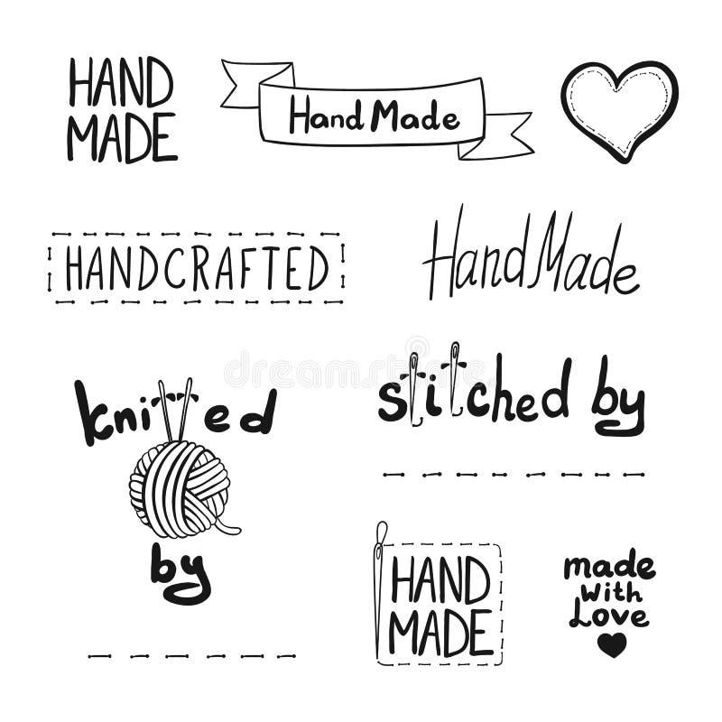 Drog handen för vektorn handen - gjorde den isolerade symbolssamlingen, skissade etiketter royaltyfri illustrationer