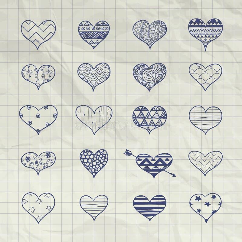 Drog hjärtaformer för vektor hand med klottermodeller royaltyfri illustrationer