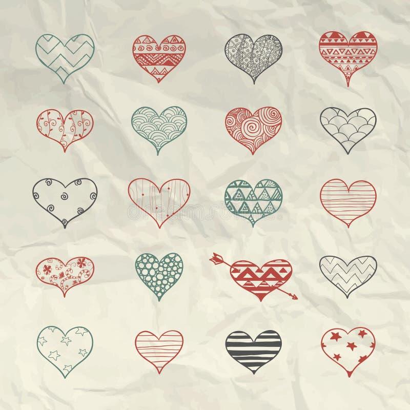 Drog hjärtaformer för vektor hand med klottermodeller vektor illustrationer