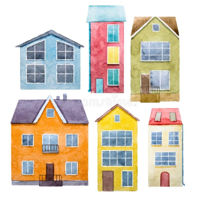 Drog hus för vattenfärg hand vektor illustrationer