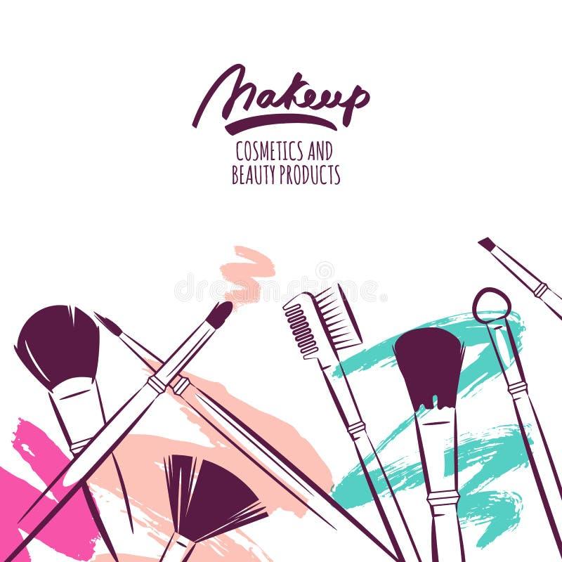 Drog illustrationen för vattenfärgen borstar handen av makeup på färgrik grungebakgrund vektor illustrationer