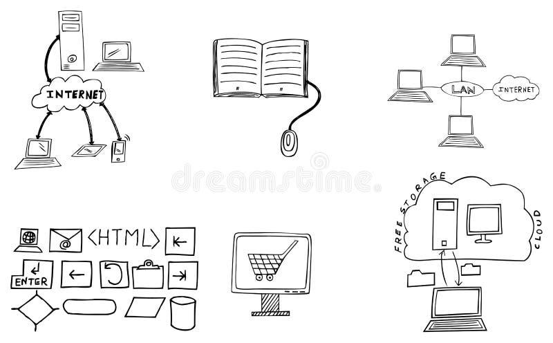 Drog illustrationer för internet hand arkivbild