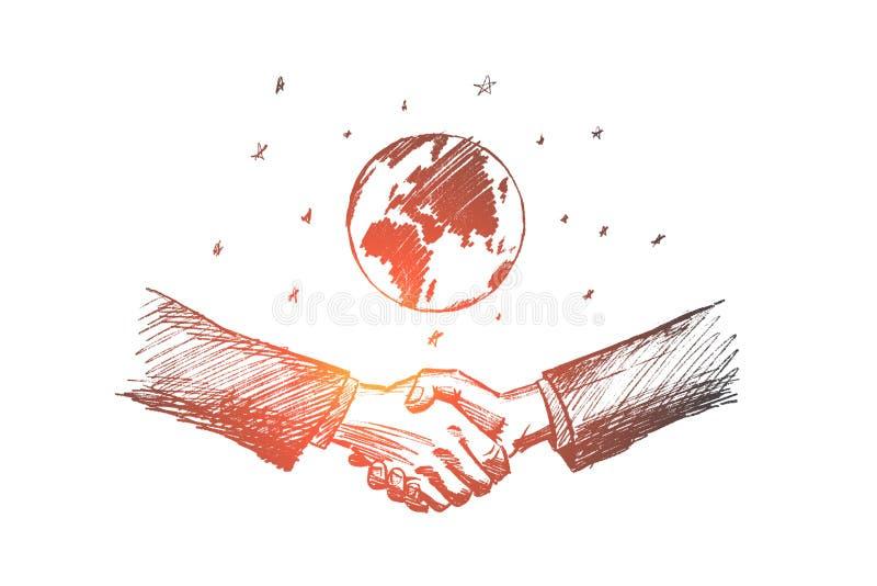 Drog internationella affärsidéen för vektorn skissar handen vektor illustrationer