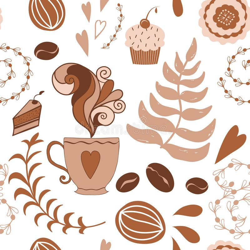 Drog klotter för tecknad film kuper handen kafét, modell för muffin för kaffebönor sömlös i cofeeefärg stock illustrationer