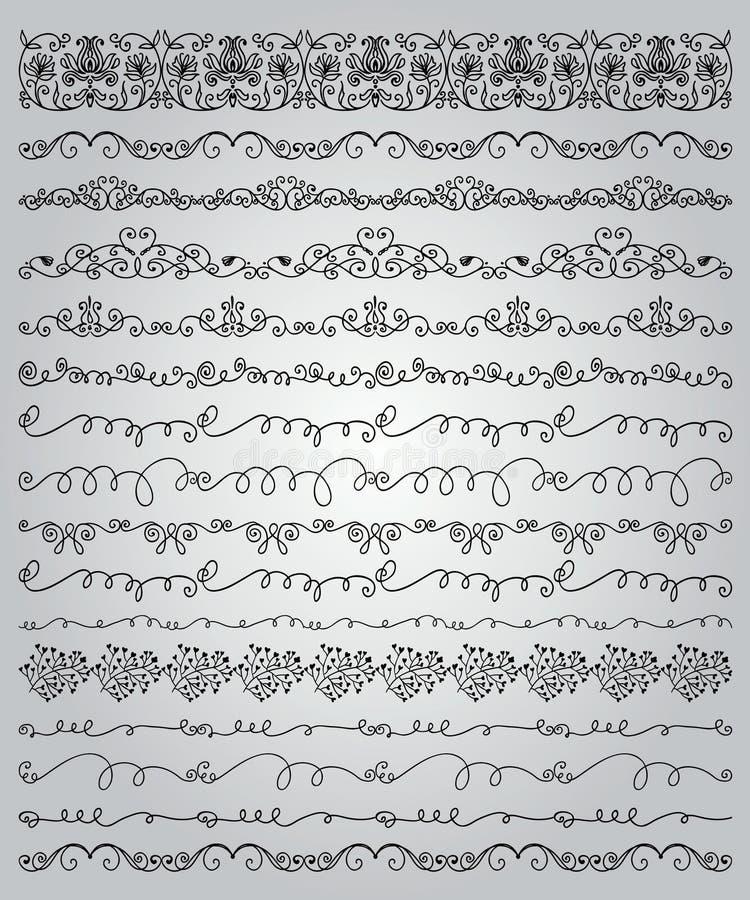 Drog klottergränser och ramar för svart hand stock illustrationer