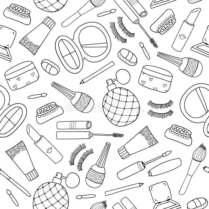 Drog klotterskönhetsmedel sömlös modell, bakgrund för vektor hand stock illustrationer