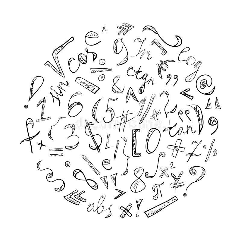 Drog klottersymboler och nummer för svart hand Klottra tecken som är ordnat i en cirkel vektor illustrationer