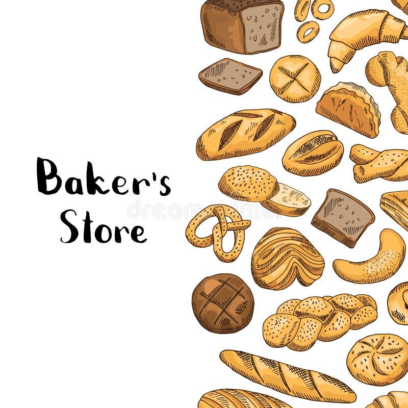 Drog kulöra bageribeståndsdelar för vektor hand stock illustrationer