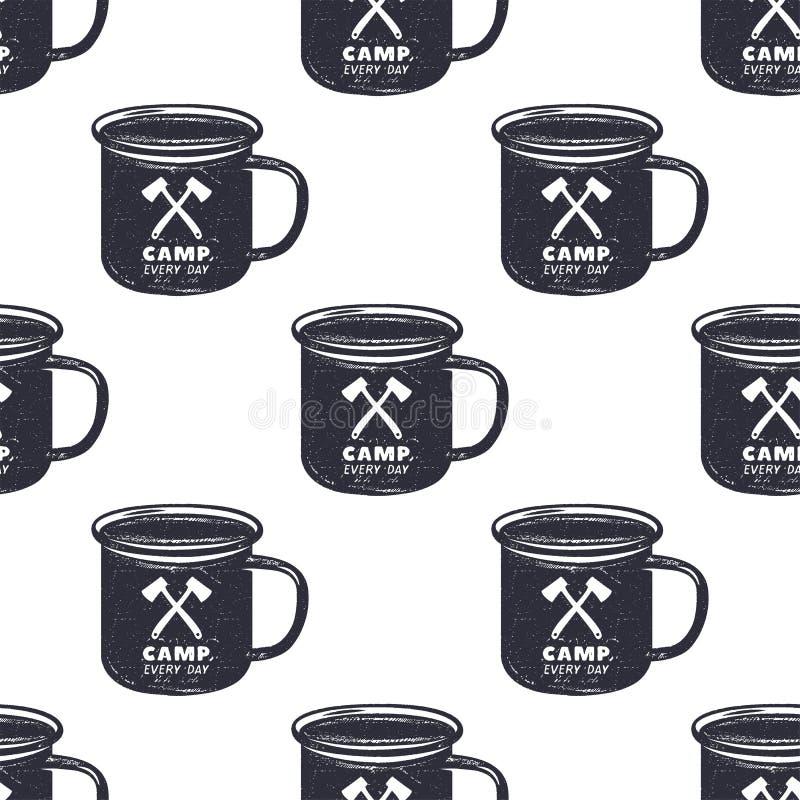 Drog lägret för tappning rånar mönstrar handen, design Campa sömlös tapet med koppen, typografitecken Retro monokrom fotografering för bildbyråer