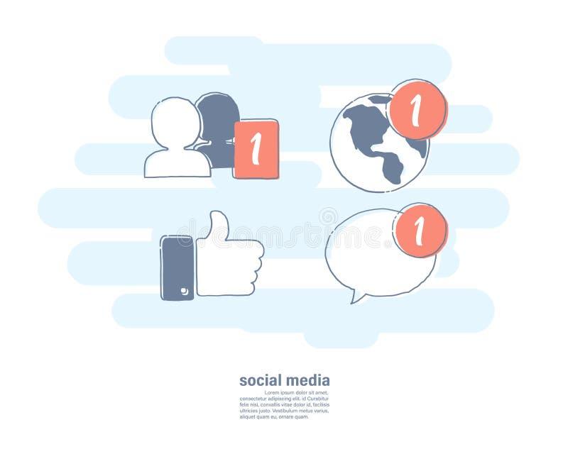 Drog linjen lägenhetsymbolen för vektorillustrationen knyter kontakt handen av socialt massmedia Meddelandesymbol stock illustrationer